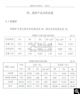 Resultado da análise dos principais elementos do concentrado de Pb